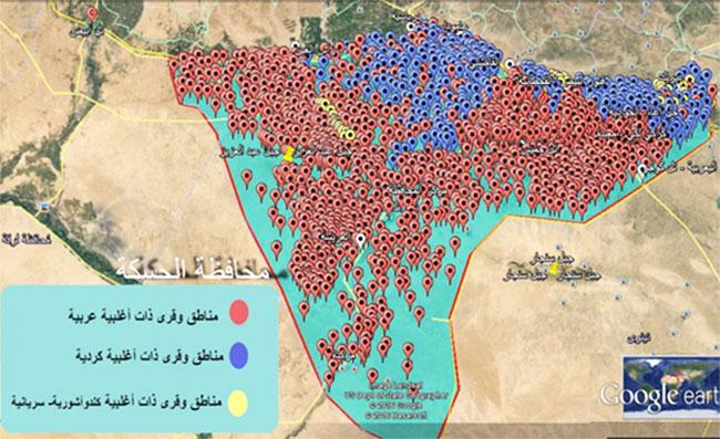 الشكل(1) خارطة لإسقاط نتائج التوزع القومي على محافظة الحسكة.